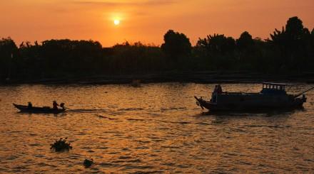 Croisière sur le Mékong au coucher de soleil